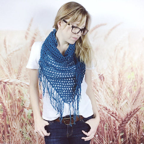 Bohemian Triangle Fringe Scarf in Peacock Blue - Wheatfield Knitwear