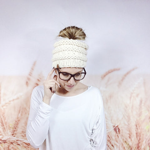 Top Knot Ponytail Beanie Hat in Cream - Wheatfield Knitwear