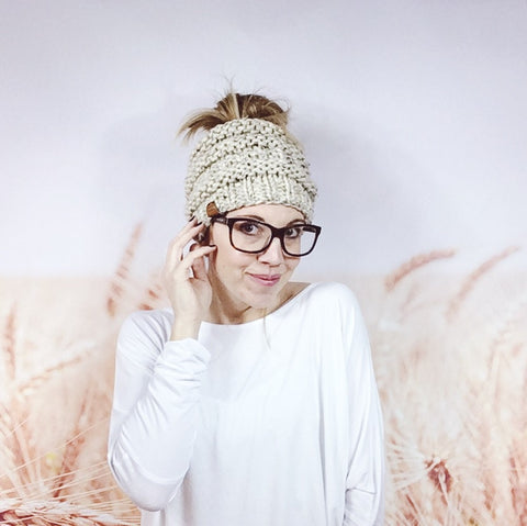 Knitted Messy Bun Beanie in Oatmeal - Wheatfield Knitwear