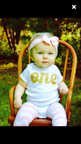 "Golden Glitter ""one"" First Birthday Shirt"