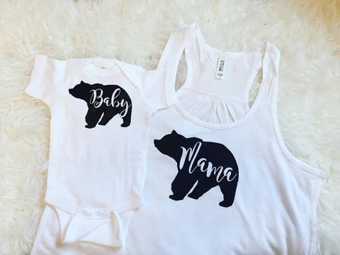Mama Bear Baby Bear Matching Set // White and Black