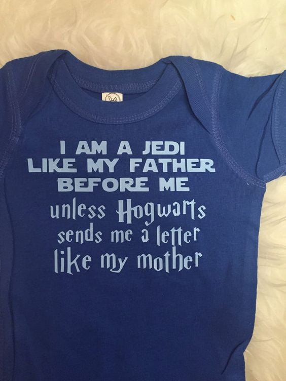 I am a Jedi Wizard Bodysuit Toddler Tee, Harry Potter, Star Wars // BLUE