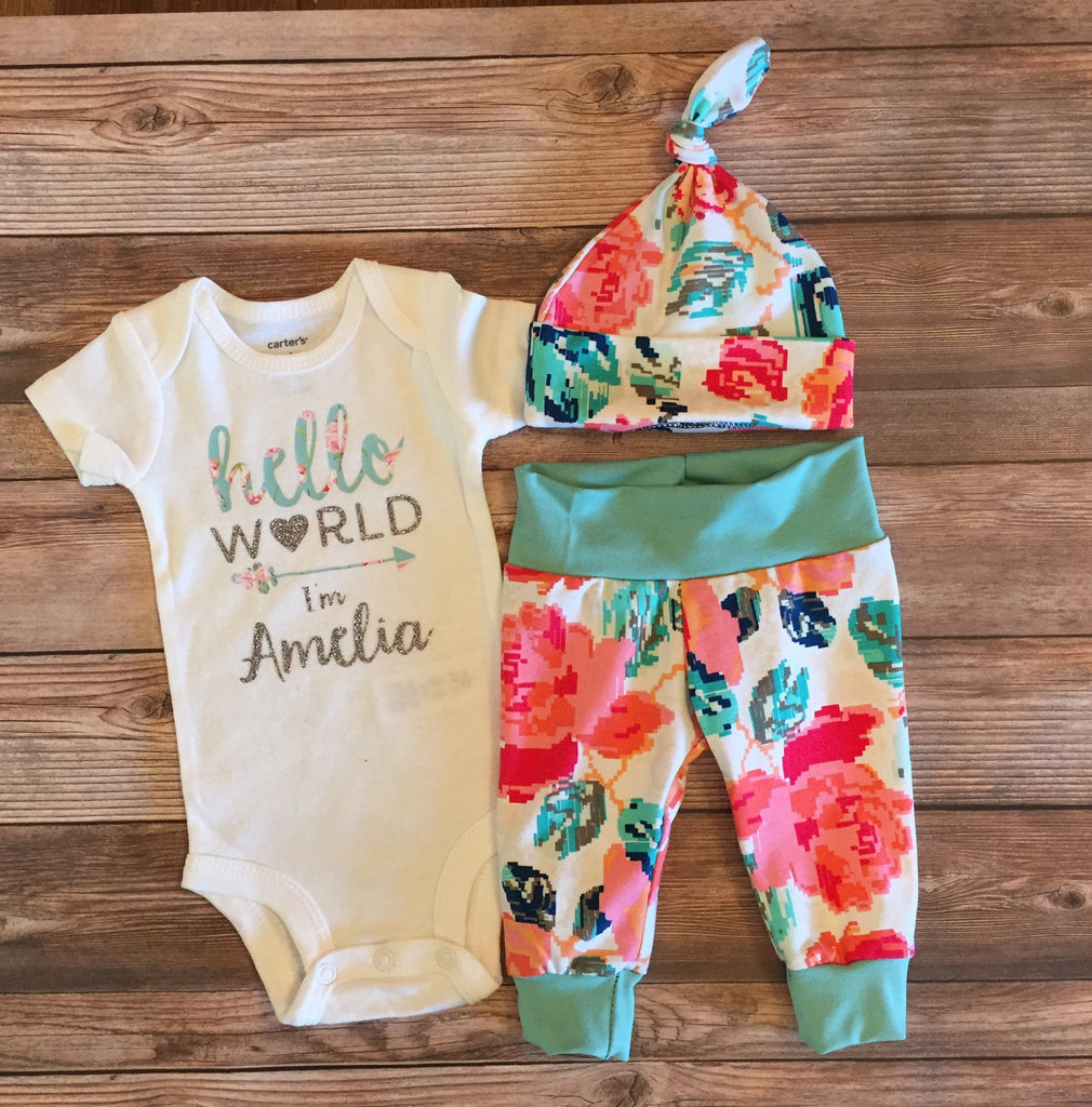 Pixel Floral Hello World Newborn Outfit