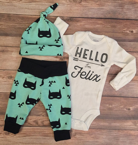 Mint Bat Mask Newborn Outfit, Coming Home Outfit, Hello World, batmask, batman