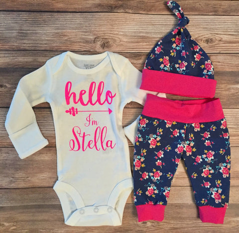 Hot Pink and Navy Hello World Floral Coming Home Outfit, Leggings & Bodysuit, newborn
