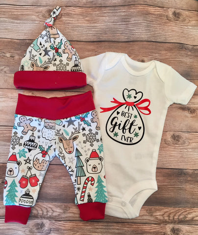 Best Gift Ever Christmas Newborn Coming Home Outfit, Newborn Boy Outfit, Newborn Leggings, Newborn Hat