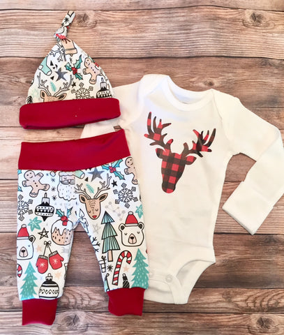 Buffalo Buck Christmas Newborn Coming Home Outfit, Newborn Boy Outfit, Newborn Leggings, Newborn Hat