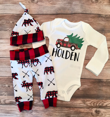Christmas Newborn Coming Home Outfit, Newborn Boy Outfit, Newborn Leggings, Newborn Hat