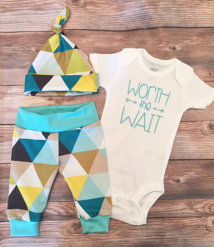 Worth the Wait Turquoise Triangle Coming Home Outfit, Newborn