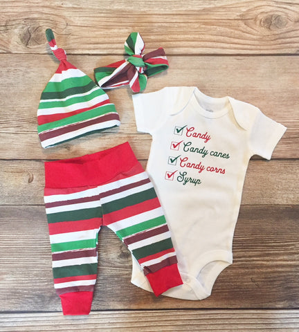 Elf Food Groups Christmas Newborn Coming Home Outfit, Newborn Boy Outfit, Newborn Leggings, Newborn Hat