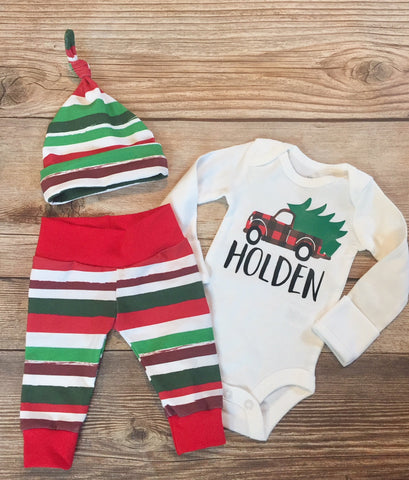 Buffalo Truck Christmas Newborn Coming Home Outfit, Newborn Boy Outfit, Newborn Leggings, Newborn Hat