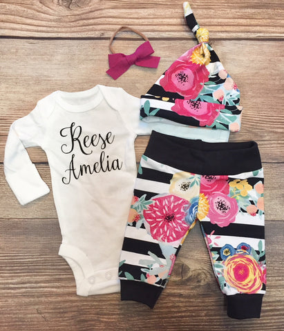 Black and White Stripe Floral Newborn Coming Home Outfit, Going Home Outfit, Baby Name Outfit, newborn girl outfit