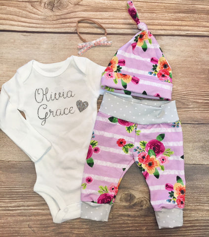 Lavender Stripe Floral Newborn Coming Home Outfit, Going Home Outfit, Baby Name Outfit, newborn girl outfit