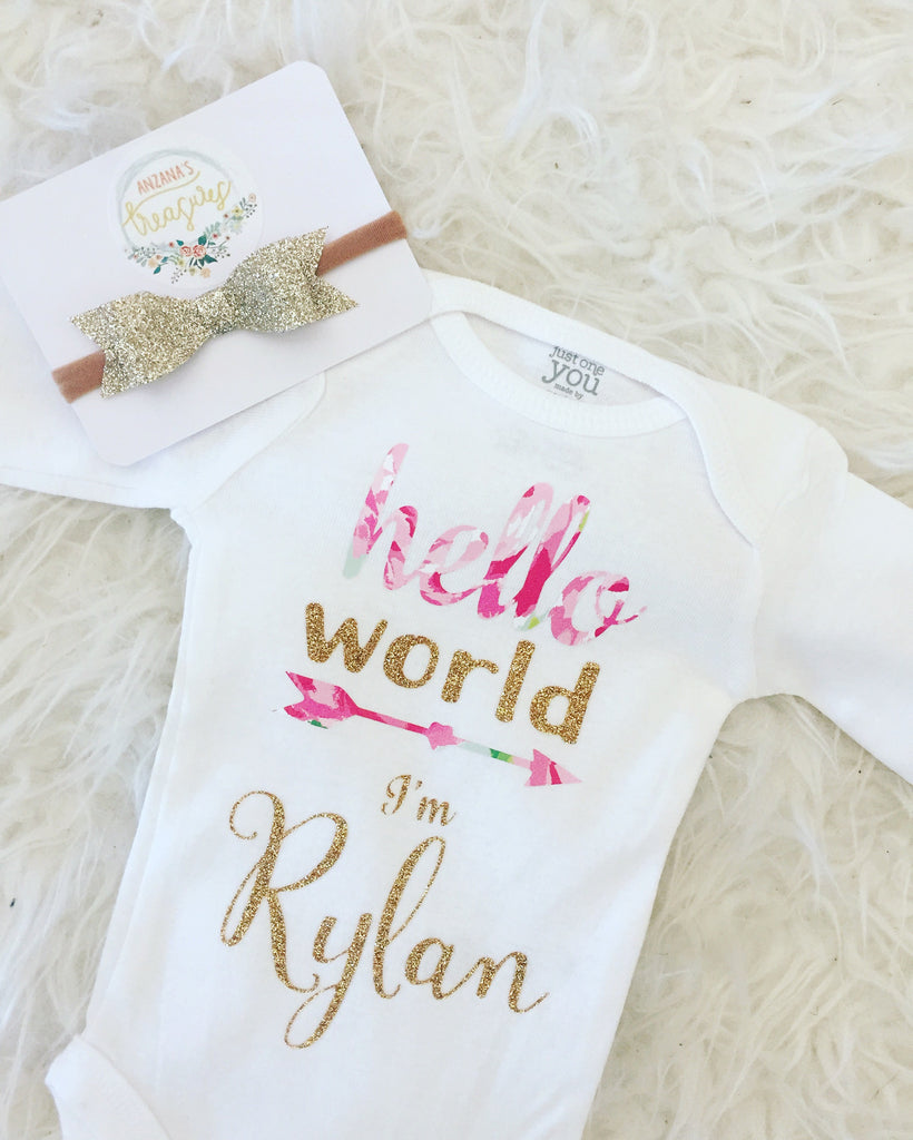 Hello World Custom Coming Home Outfit, newborn