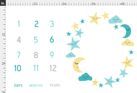 Blue & Yellow Moon and Star Milestone Mat