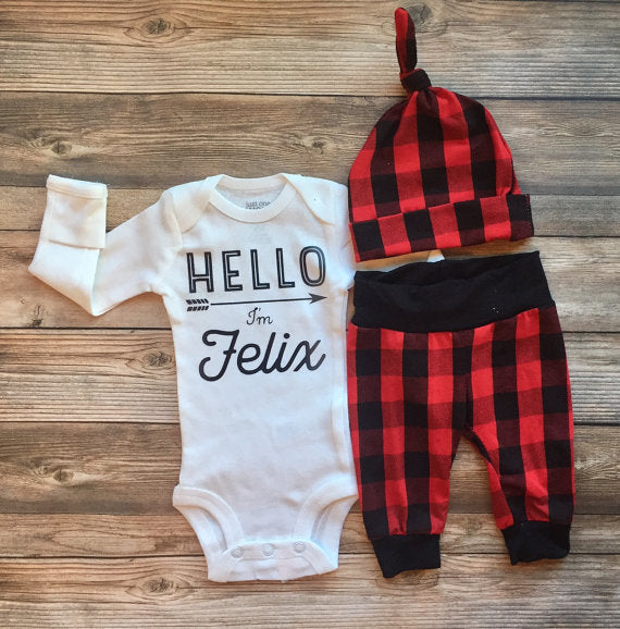 Buffalo Plaid Newborn Coming Home Outfit