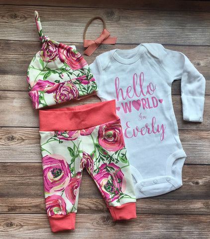 Hello I'm New Here Floral Coming Home Outfit, Leggings & Bodysuit, newborn