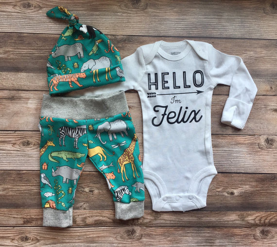 Turquoise Safari Newborn Outfit, Hello World, Coming Home Outfit, Going Home Outfit