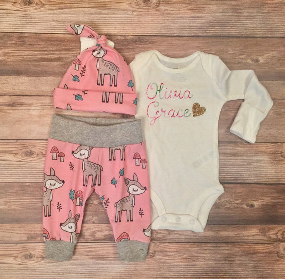 Pink Woodland Deer Coming Home Outfit, Going Home Outfit, Hello World