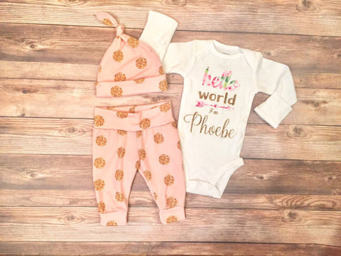 Pink and Gold Sparkle Coming Home Outfit, Hello World, newborn, Leggings and hat