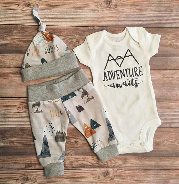 Adventure Awaits Newborn Coming Home Outfit, Newborn Boy Outfit, Newborn Leggings, Newborn Hat