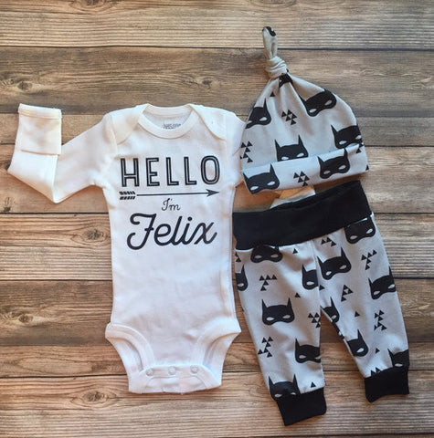 Bat Mask Newborn Outfit, Coming Home Outfit, Hello World, batmask, batman