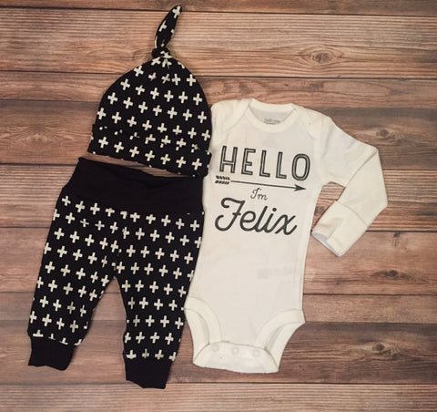 Black and White Cross Newborn Outfit, Gender Neutral, Coming Home Outfit, Going Home Outfit