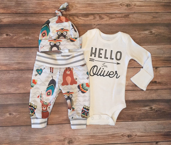 White and Gray Woodland Newborn Outfit, Gender Neutral Unisex, Onesie, Leggings, Newborn