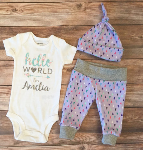 Lavender Triangle Newborn Outfit, Coming Home Outfit, Custom Onesie