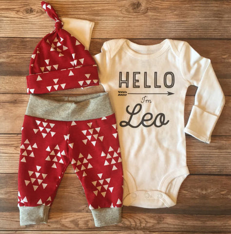 Red Triangle Newborn Outfit, Baby Boy Outfit, Coming Home Outfit, Going Home Outfit