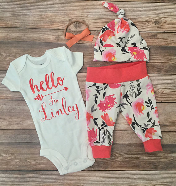 Hello World Coral Watercolor Floral Newborn Outfit