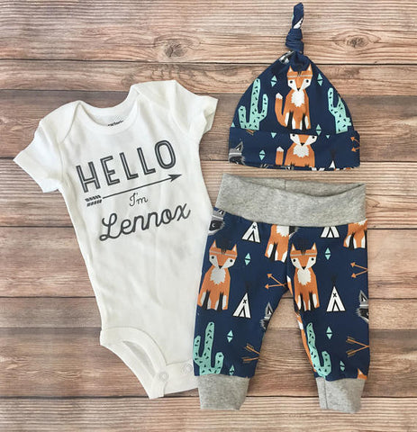 Navy Southwest Newborn Coming Home Outfit