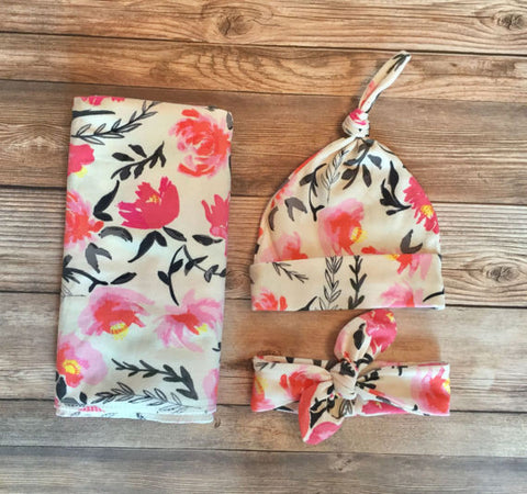 Watercolor Floral Swaddle Set