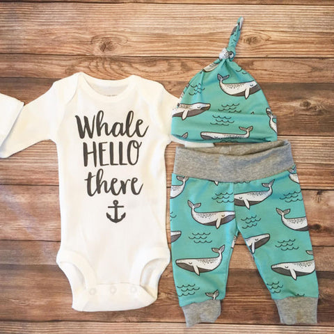 Mint Whale Newborn Outfit, Coming Home Outfit, Going Home Outfit, Whale Hello There