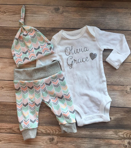 Peach Mint Chevron Newborn Coming Home Outfit , Baby name outfit, newborn girl outfit