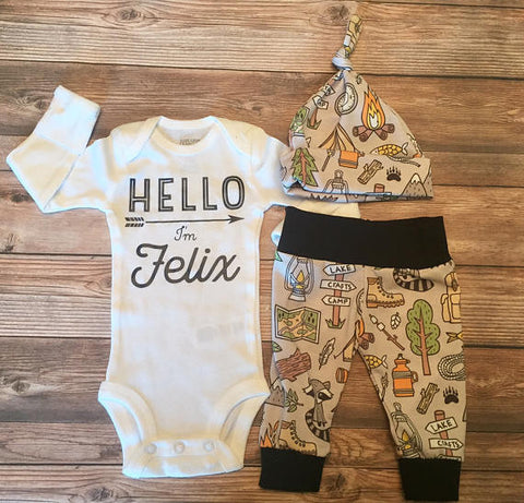 Gone Camping Newborn Coming Home Outfit