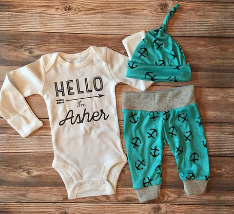 Teal Anchor Hello World Coming Home Outfit, Newborn Boy Outfit, Newborn Leggings, Newborn Hat