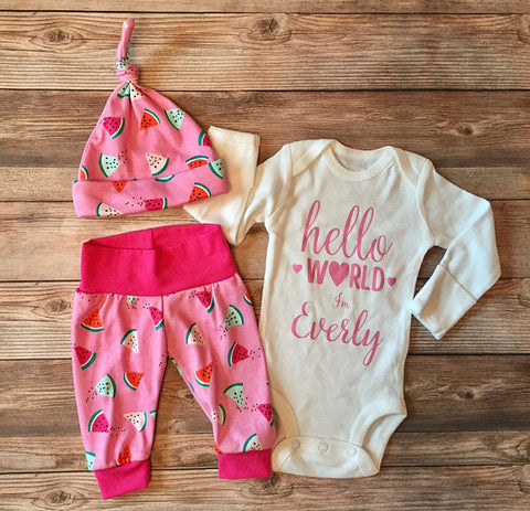 Pink Watermelon Hello World Coming Home Outfit, Newborn Outfit, Newborn Leggings, Baby Hat