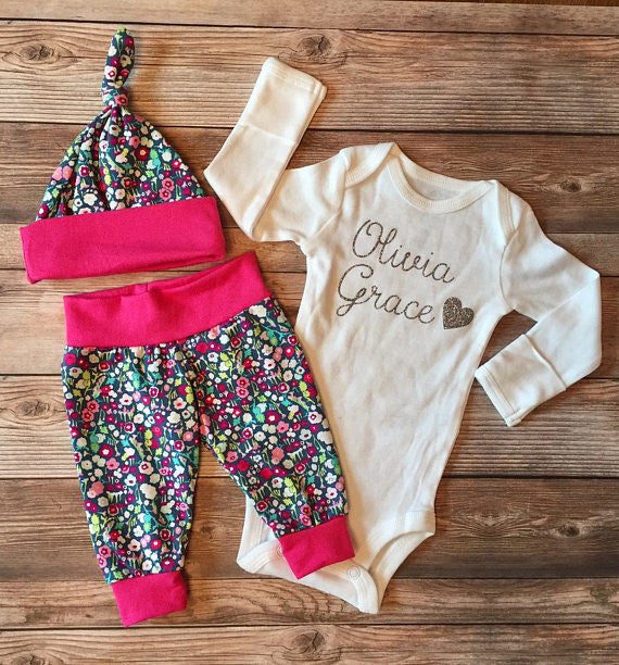 Garden Floral Hello World Coming Home Outfit, Newborn Outfit, Newborn Leggings, Newborn Hat