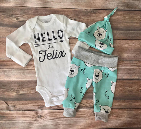 Mint Polar Bear Newborn Coming Home Outfit