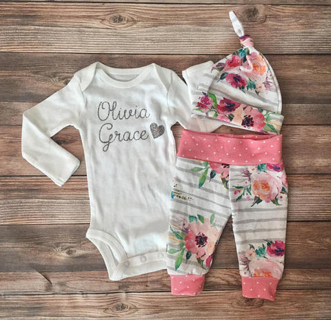 Gray Stripe Floral newborn Coming Home Outfit