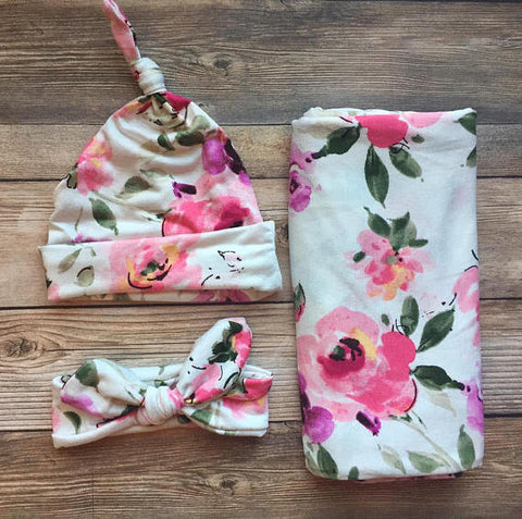 Cream and Pink Floral Swaddle Set