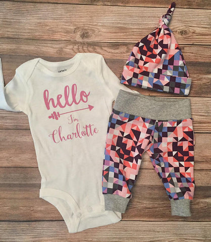 Hello World Geometric Coming Home Outfit, Leggings, Newborn,