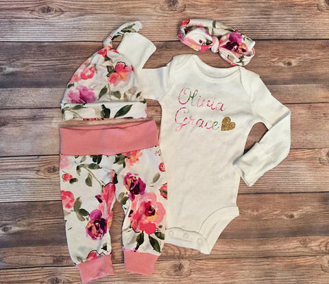 Pink & Purple Floral Coming Home Outfit, Leggings & Bodysuit, newborn
