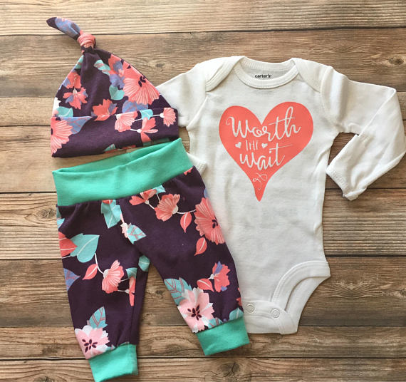 Worth The Wait, Plum Floral Newborn Outfit, Coming Home Outfit, Going Home Outfit