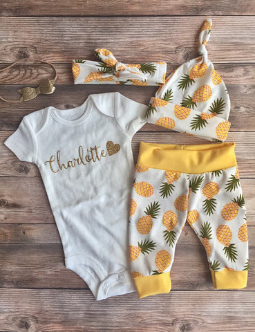 Yellow Pineapple Newborn Coming Home Outfit