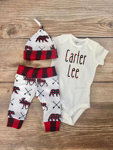 Buffalo Moose & Bear Newborn Coming Home Outfit