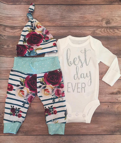 Navy Stripe Floral Newborn Coming Home Outfit , Best Day Ever