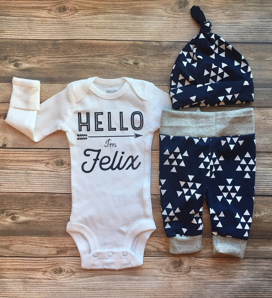 Navy Triangle Newborn Outfit, Baby Boy Outfit, Coming Home Outfit, Going Home Outfit