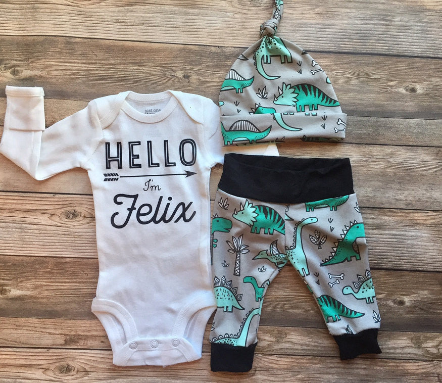 Mint and Gray Dino Newborn Outfit, Coming Home Outfit, Going Home Outfit